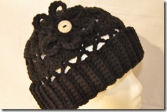Black Crochet Hat Close up